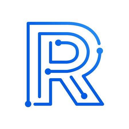 Simple and modern illustration initial logo R circuit