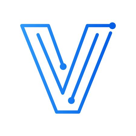 Simple and modern illustration initial logo V circuit