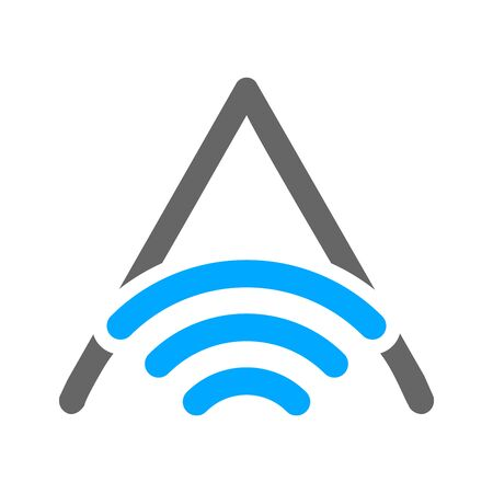 Simple and Clean illustration design letter A combine with WiFi icon.