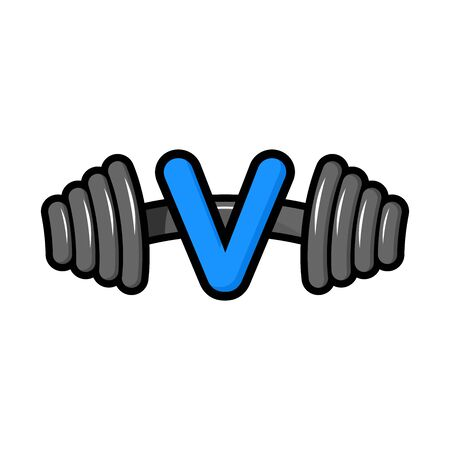 Modern icon design combining barbell and letter V
