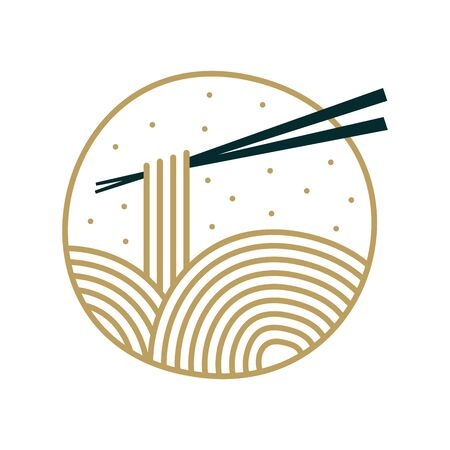 Simple Clean icon design noodle with vintage style.