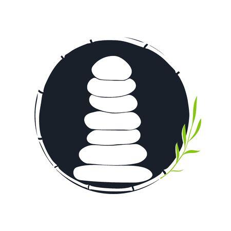 Minimalist illustration silhouette logo design stone balancing in circle.