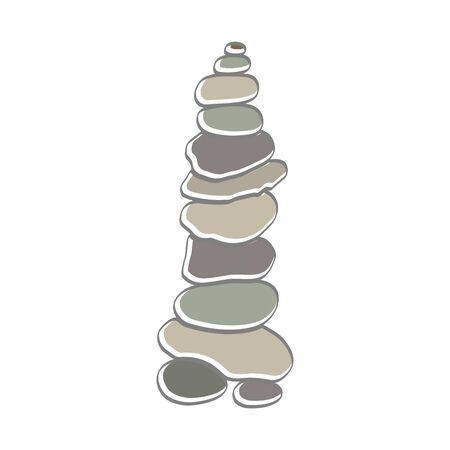 soft color illustration logo design rock balance. Stock Illustratie