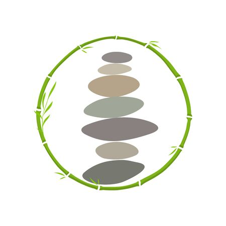 Simple illustration rock balancing combine with circle bamboo. Иллюстрация