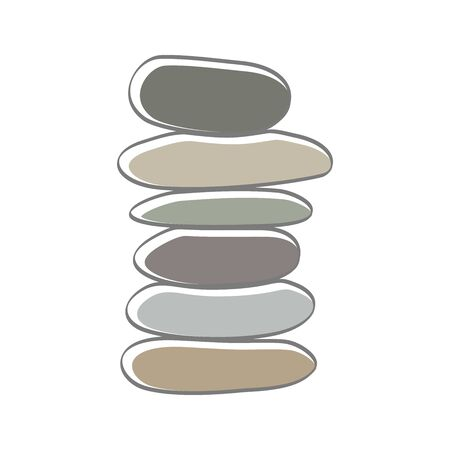 soft color illustration logo design rock balance. Иллюстрация