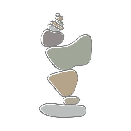 soft color illustration logo design rock balance. Ilustrace