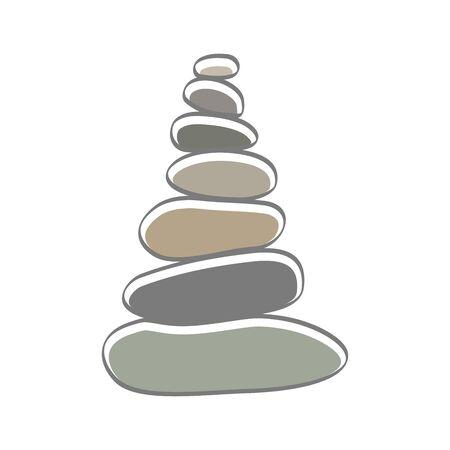 soft color illustration logo design rock balance.