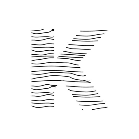 Abstract line illustration initial logo K
