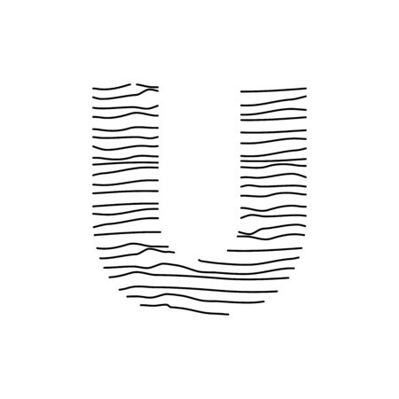 Abstract line illustration initial logo U