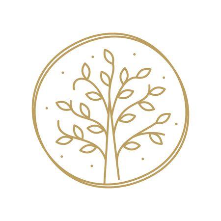minimalist and clean logo design mono line landscape in circle gold version.