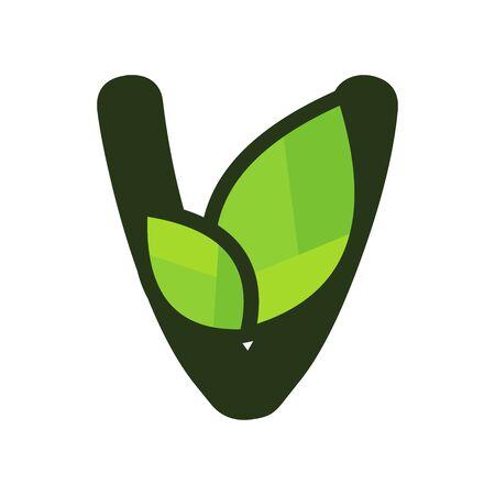 Simple, Clean and Charming initial logo V with leaf. Illusztráció
