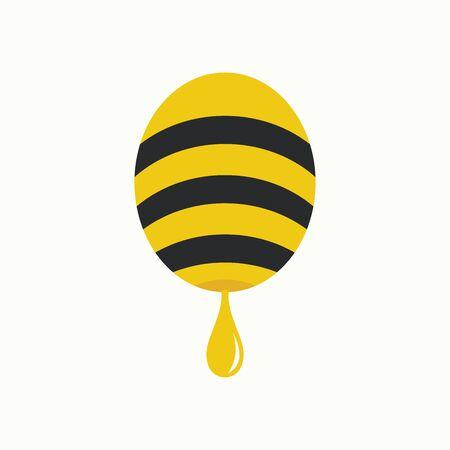 Simple and Minimalist illustration logo design bee.