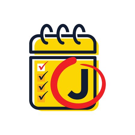 Simple illustration logo design initial J combine with calendar icon.