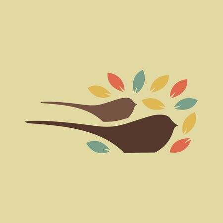 Simple and charming design bird and leaf. Illustration