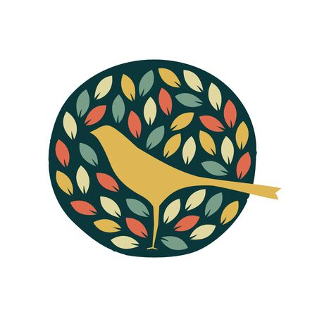 Simple and charming design logo bird and leaf. Ilustração