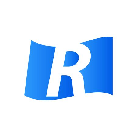 Simple and Clean logo illustration initial R in blue flag.