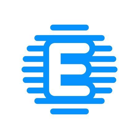Simple Logo design Initial E in Straight circle line.