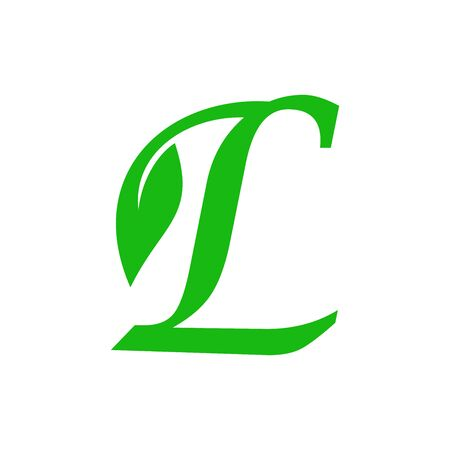 Simple illustration initial L leaf logo.