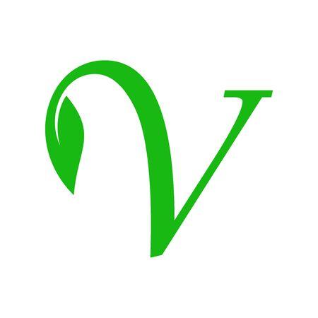 Simple illustration initial V leaf logo. Illusztráció
