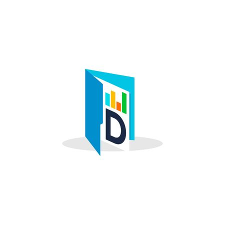 simple and clean illustration logo design initial D chart folder.