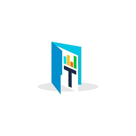 simple and clean illustration logo design initial T chart folder.