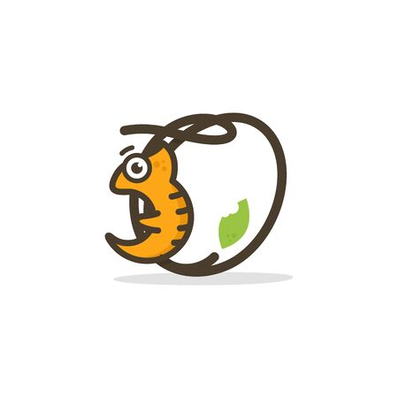 Simple and Cute illustration logo design chameleon combine with Initial letter O