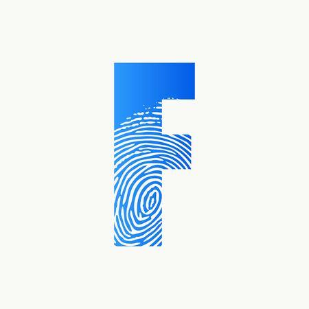 Modern illustration logo design initial F finger Print. Logo