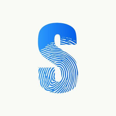 Modern illustration logo design initial S finger Print.