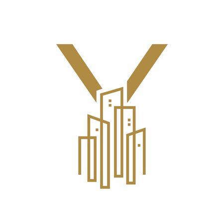 Simple and Luxury illustration design initial letter Y gold city / urban.