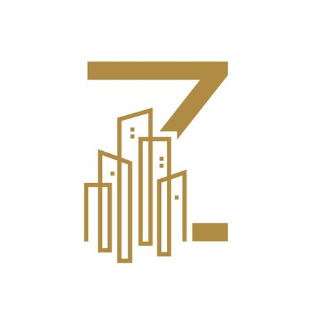 Simple and Luxury illustration design initial letter Z gold city / urban. Illustration