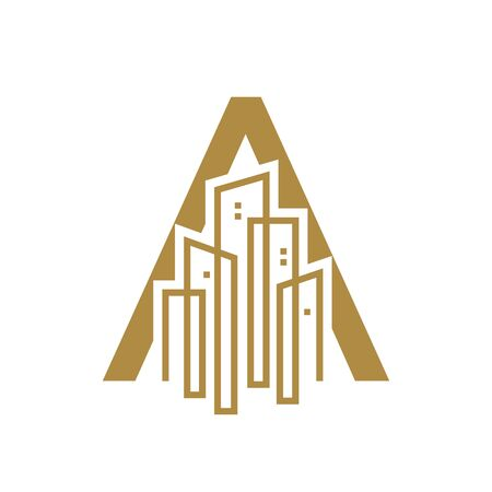Simple and Luxury illustration  design initial letter A gold city / urban.