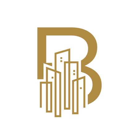 Simple and Luxury illustration design initial letter B gold city / urban. Illustration