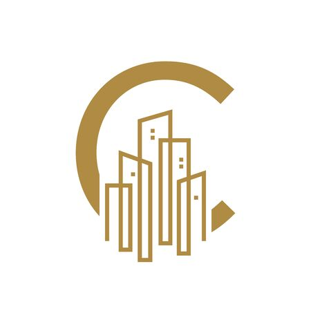 Simple and Luxury illustration design initial letter C gold city / urban. Banque d'images - 144928999