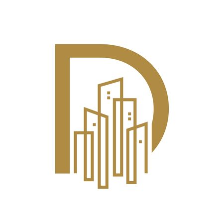 Simple and Luxury illustration design initial letter D gold city / urban. Banque d'images - 144929033