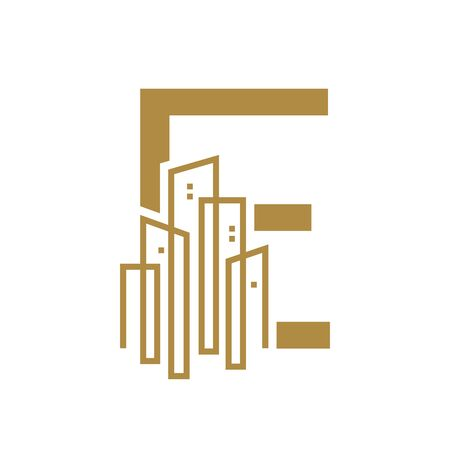 Simple and Luxury illustration design initial letter E gold city / urban.
