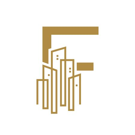 Simple and Luxury illustration design initial letter F gold city / urban.