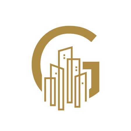 Simple and Luxury illustration design initial letter G gold city / urban.