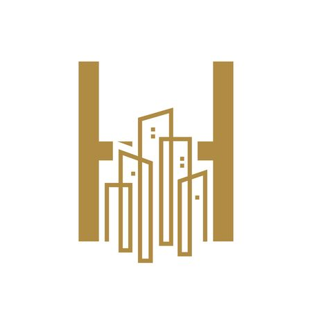 Simple and Luxury illustration design initial letter H gold city / urban. Banque d'images - 144929765