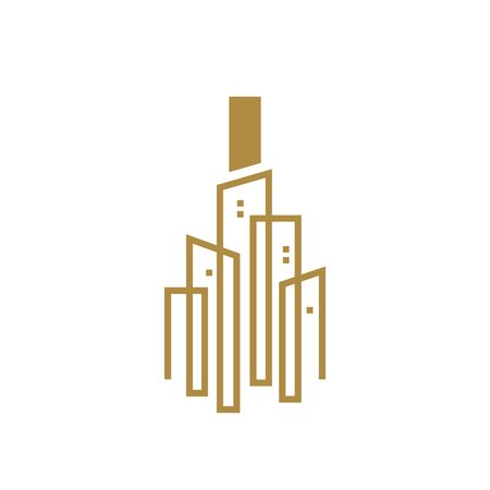 Simple and Luxury illustration design initial letter I gold city / urban. Banque d'images - 144929768
