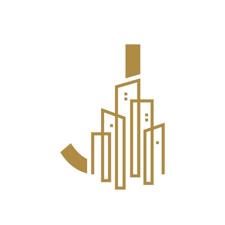 Simple and Luxury illustration design initial letter J gold city / urban.