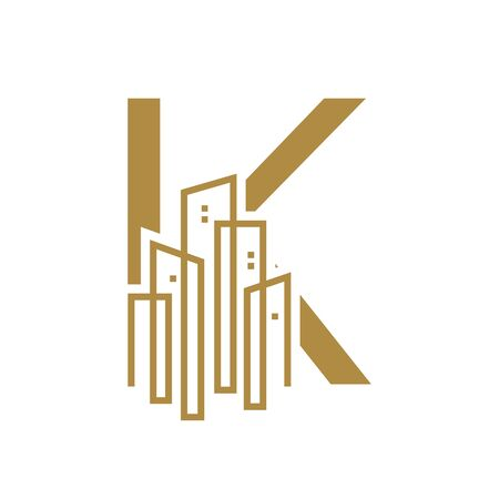 Simple and Luxury illustration design initial letter K gold city / urban. Banque d'images - 144929800