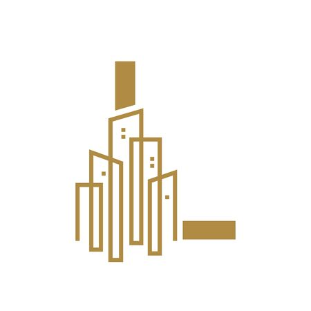 Simple and Luxury illustration  design initial letter L gold city / urban. Banque d'images - 144929801