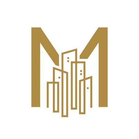 Simple and Luxury illustration design initial letter M gold city / urban. Illustration