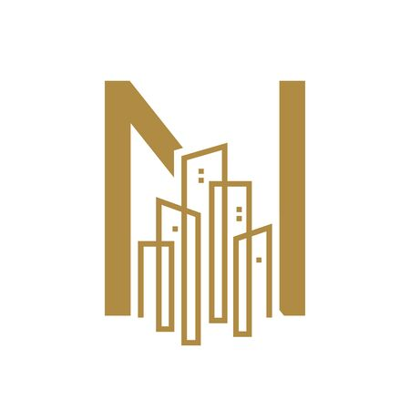 Simple and Luxury illustration design initial letter N gold city / urban. Illustration