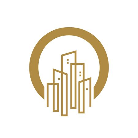 Simple and Luxury illustration design initial letter O gold city / urban.