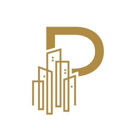 Simple and Luxury illustration design initial letter P gold city / urban. Illustration