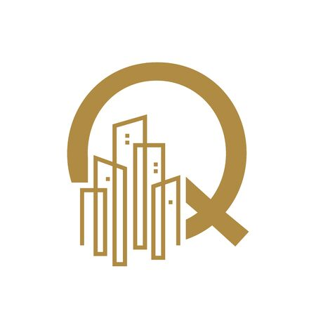 Simple and Luxury illustration design initial letter Q gold city / urban. Banque d'images - 144931103