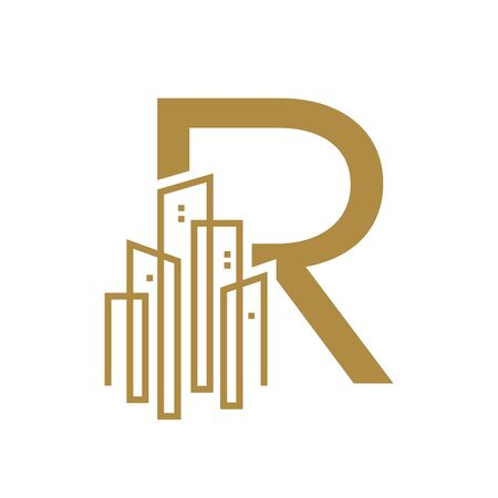 Simple and Luxury illustration  design initial letter R gold city / urban. Banque d'images - 144931685