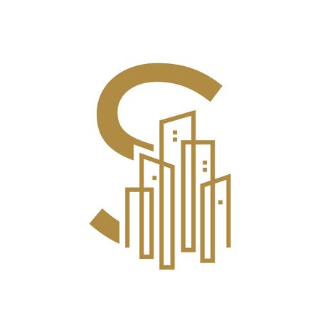 Simple and Luxury illustration design initial letter S gold city / urban.