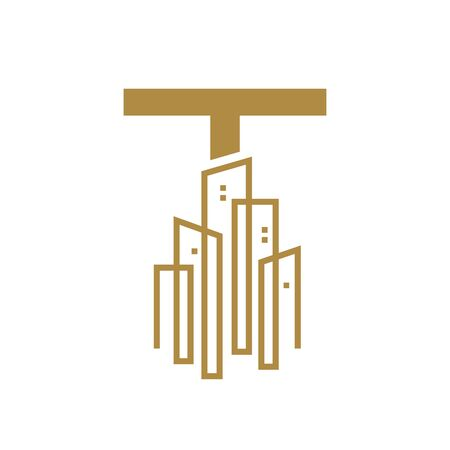 Simple and Luxury illustration design initial letter T gold city / urban. Banque d'images - 144931759